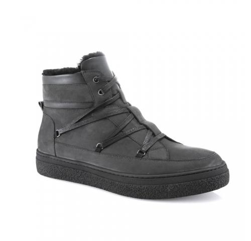 серые  мужские  зимние ботинки
